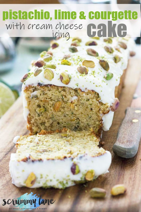 A pistachio, lime and courgette loaf cake with one slice cut