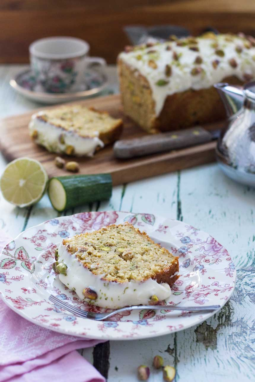 pistachio, lime & zucchini loaf