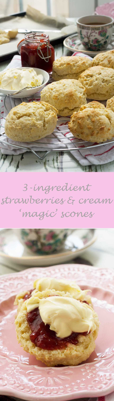 3-ingredient strawberries and cream 'magic' scones