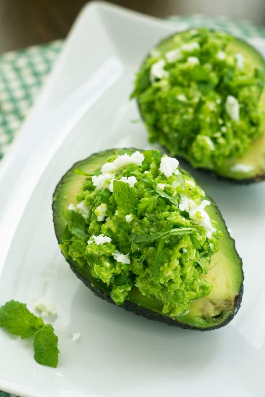 Pea, mint & feta avocado boats