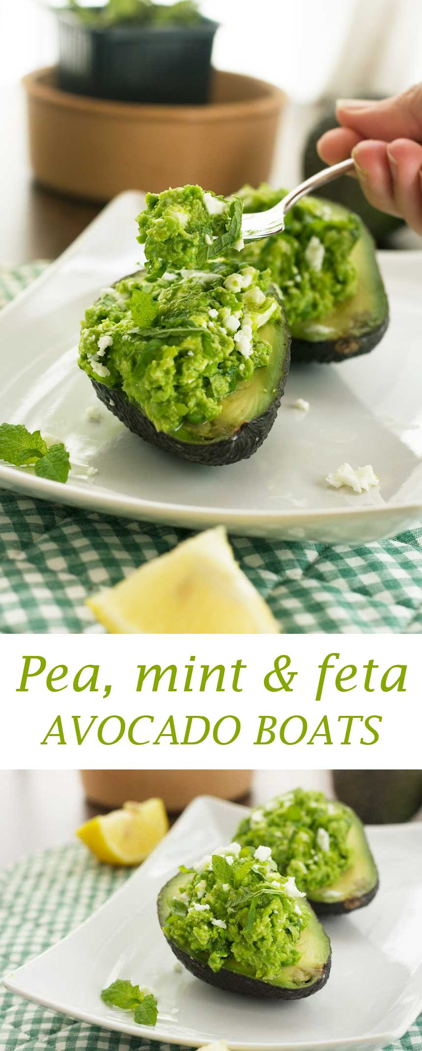 Pea, mint & feta avocado boats