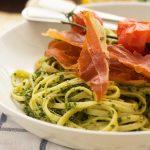 Kale pesto linguine with roasted tomatoes & crispy prosciutto
