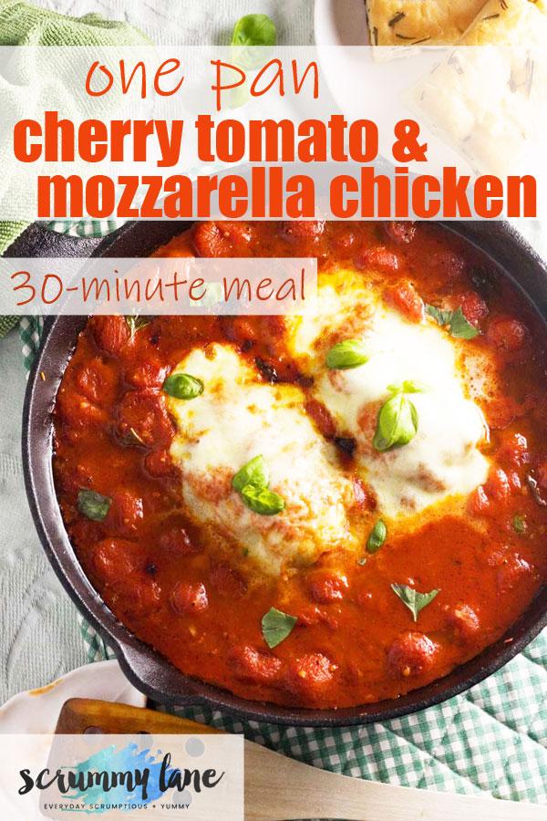 A big pan of cherry tomato and mozzarella chicken