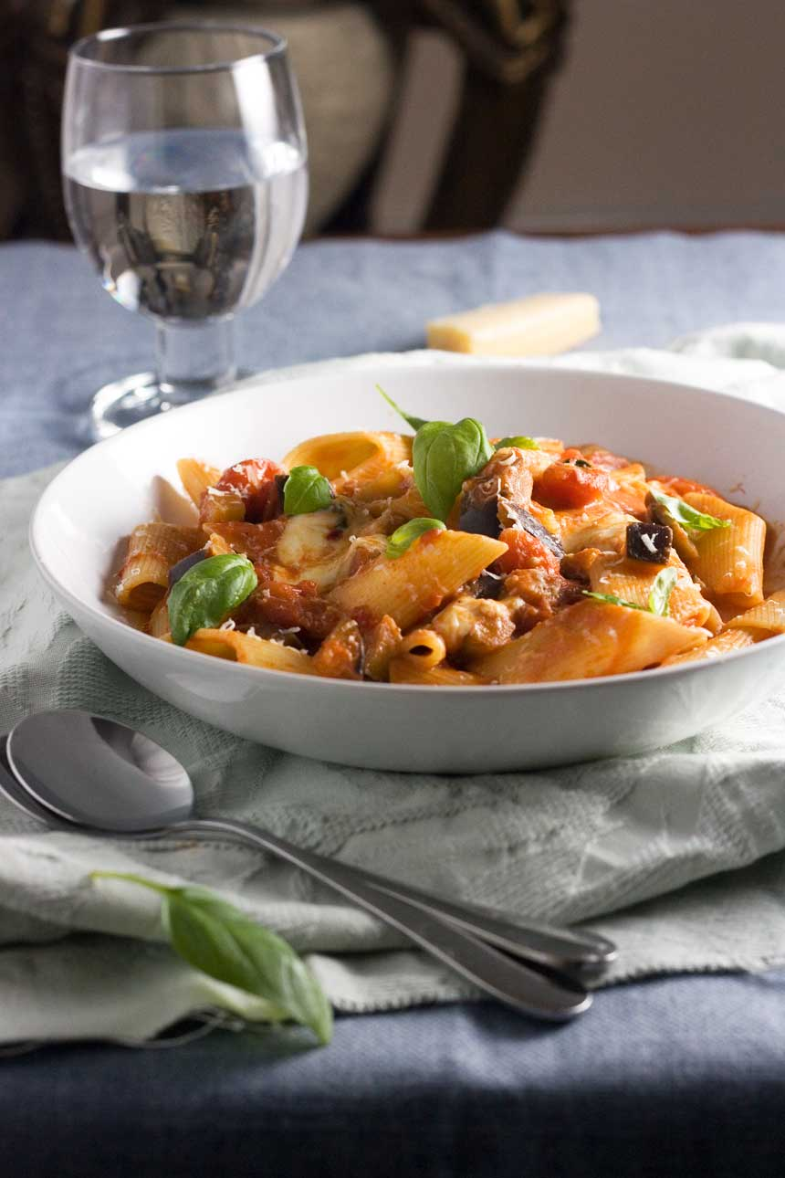 Pasta alla norma - a simple pasta with eggplant and tomato ... mmmm!