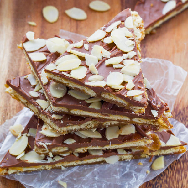 Almond rum saltine toffee from Sweet Peas and Saffron