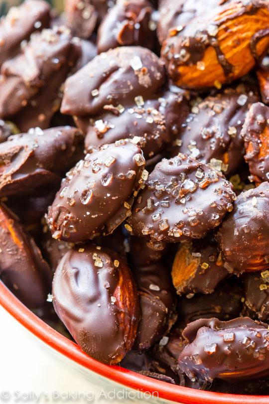 Dark chocolate sea salt almonds from Sally's Baking Addiction