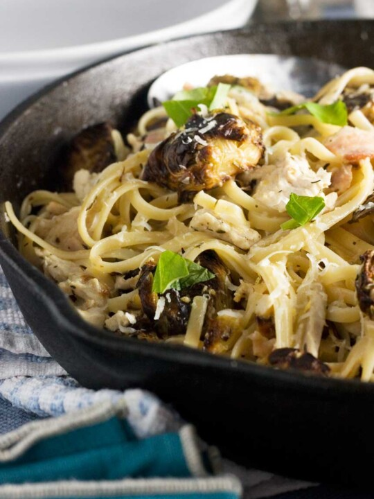 Turkey, bacon and brussels sprouts linguine - perfect for leftovers!