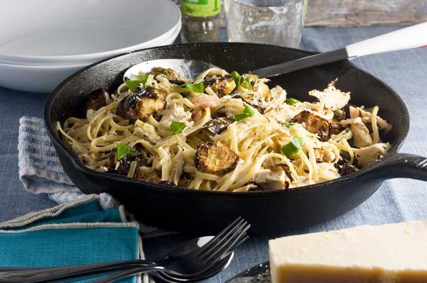 recipe: bacon, brussels sprouts, and mushroom linguine [3]..