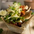 Impress your party guests with these turkey chili mini taco bowls