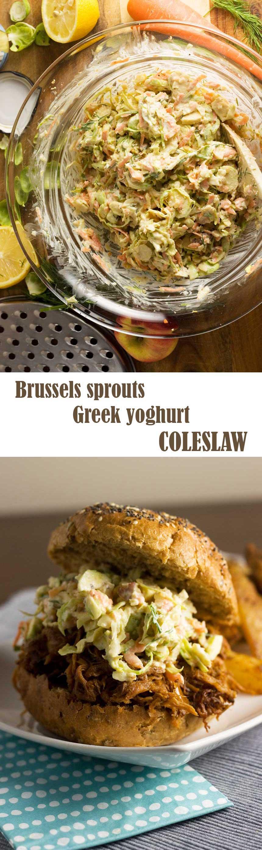 Brussels sprouts Greek yogurt coleslaw