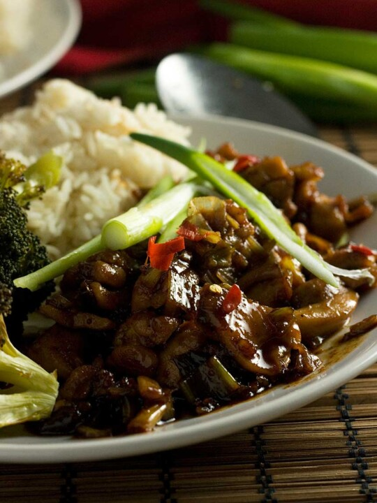 A closeup of a plate of 15-minute Shanghai chicken with rice and ingredients in the background