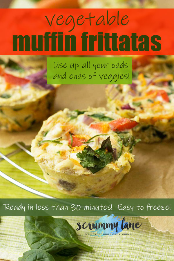 An image for Pinterest showing vegetable muffin frittatas