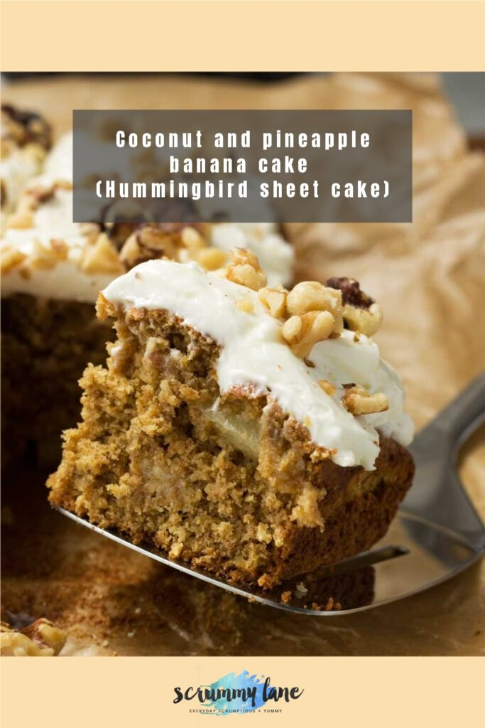 A big square of coconut and pineapple banana cake with an easy cream cheese frosting for Pinterest