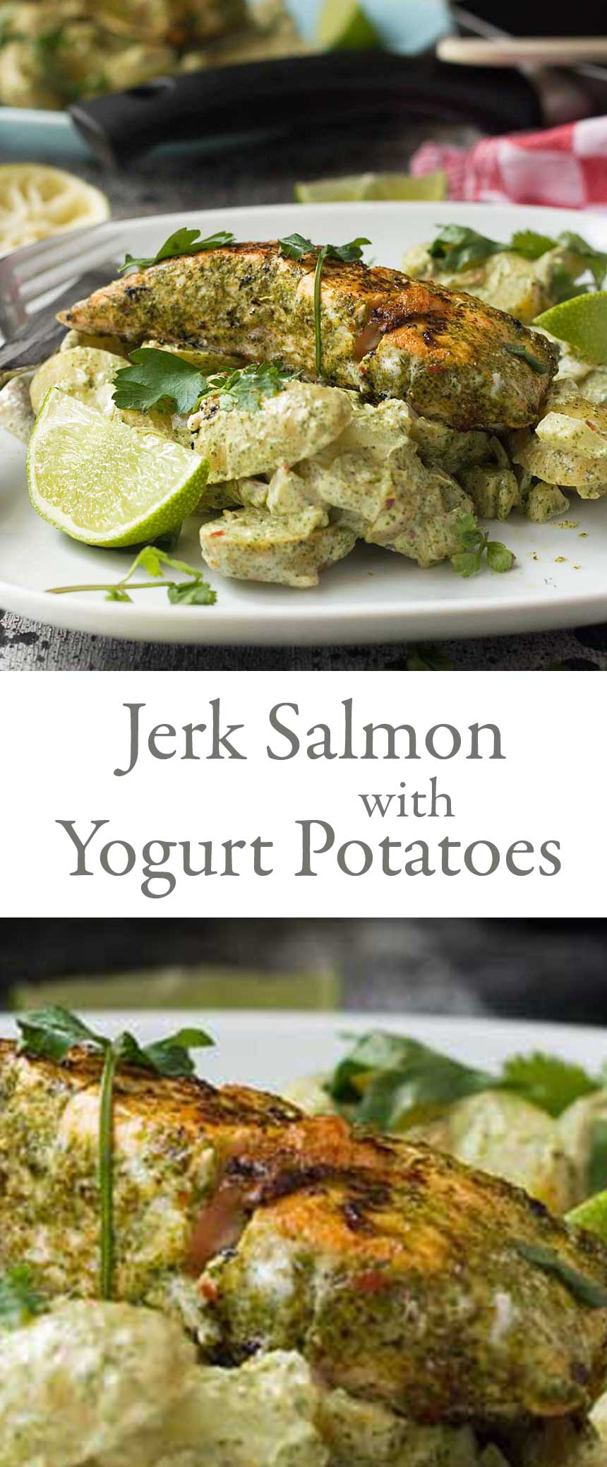 Jerk salmon with yogurt potatoes. A lovely new way to serve salmon - and it's naturally gluten free.