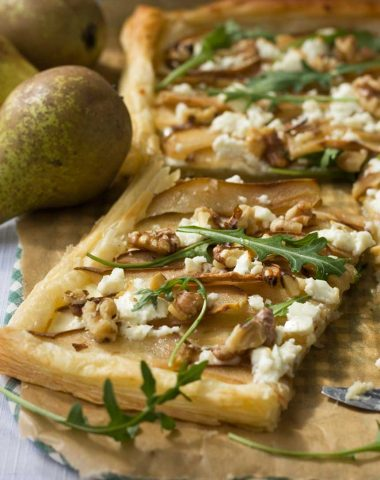 Pear, feta and walnut puff pastry tart