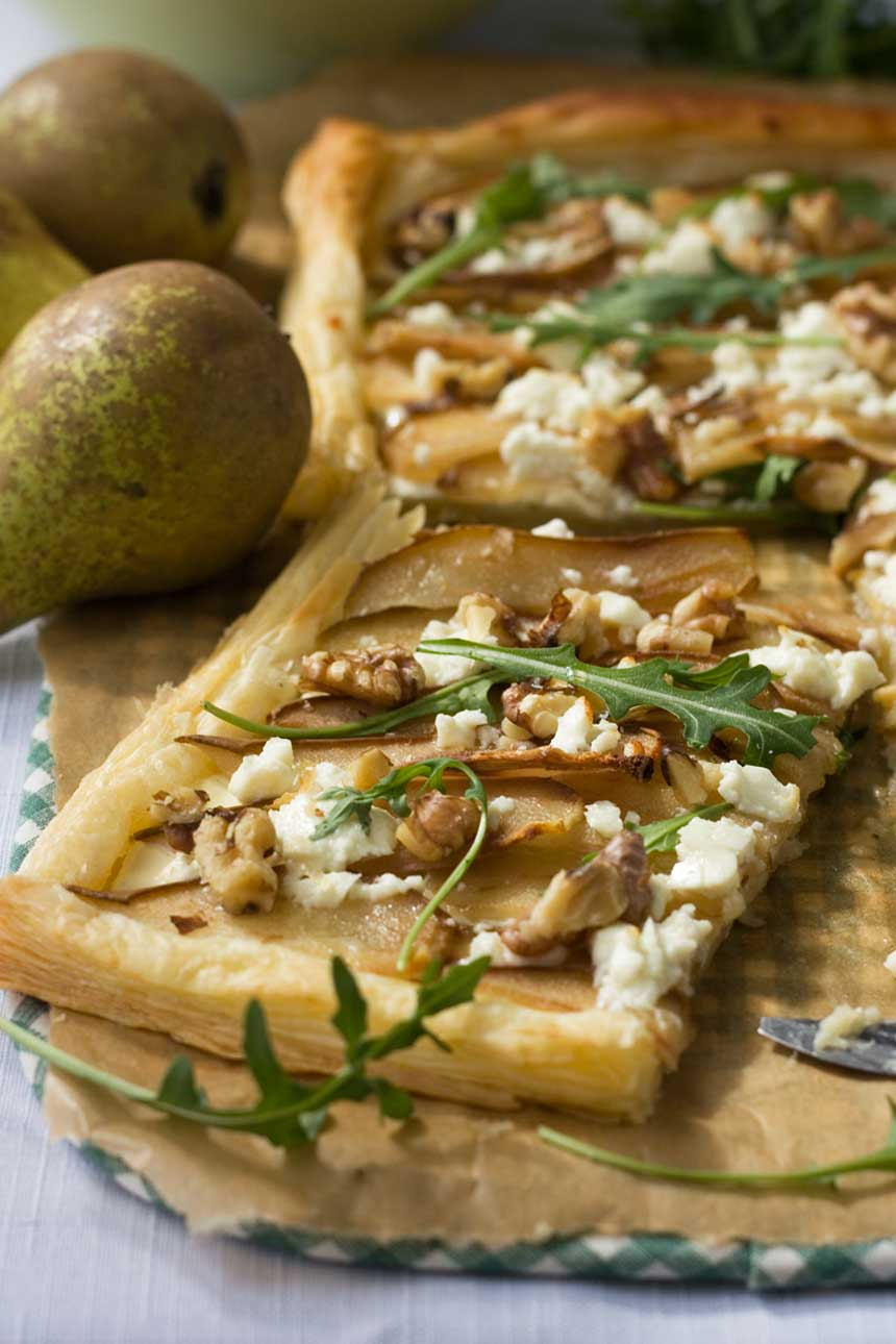 Pear, feta and walnut tart