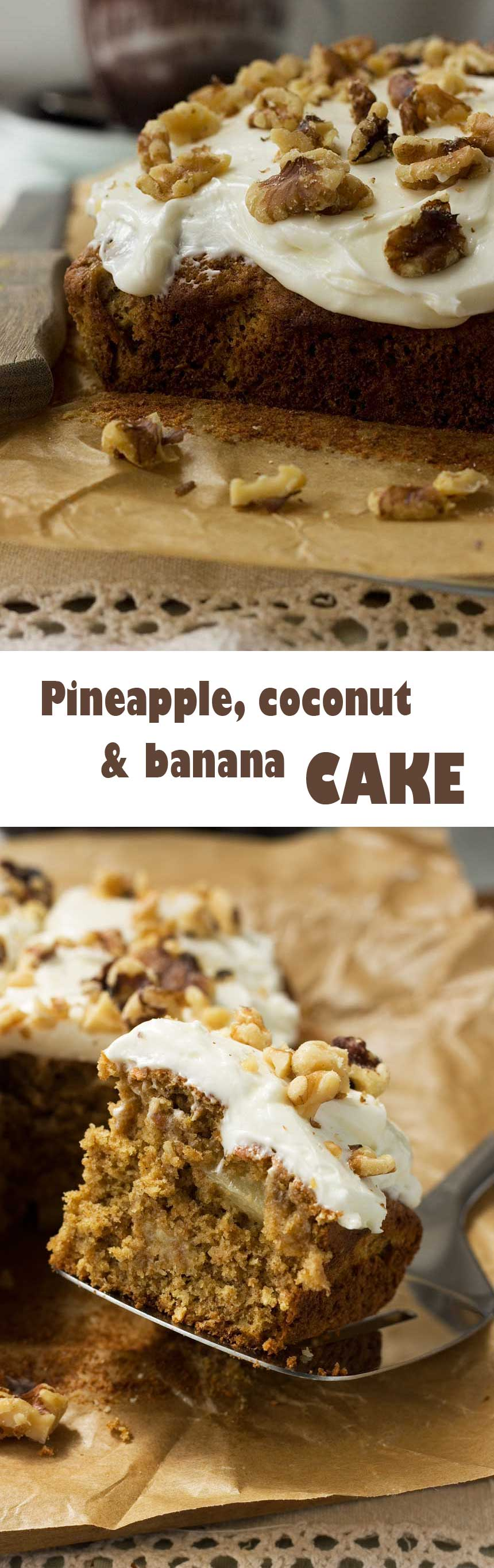 Pineapple, coconut and banana cake - like carrot cake with a tropical twist!