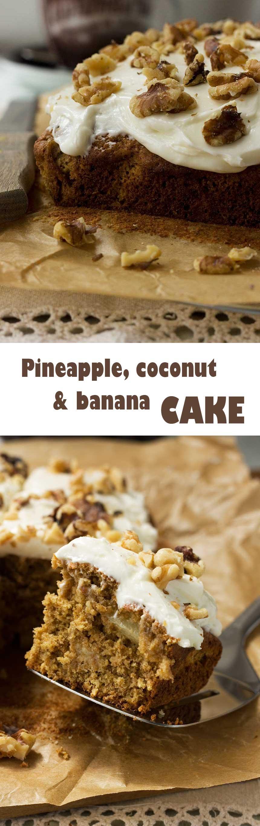 Pineapple, coconut and banana cake - like carrot cake with a tropical twist!