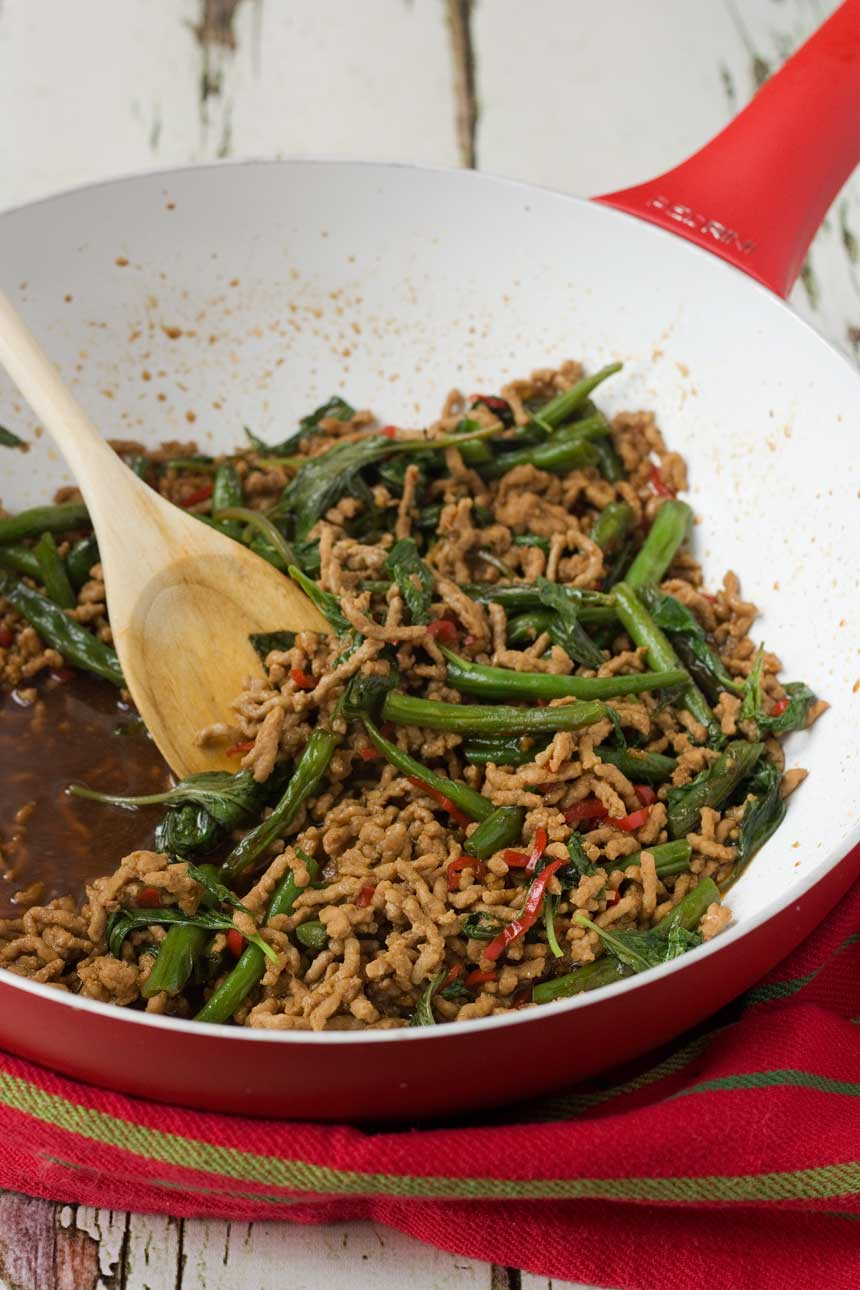 A Thai basil stir-fry just like what you'd find on the streets of Bangkok - and it's ready in just 15 minutes!