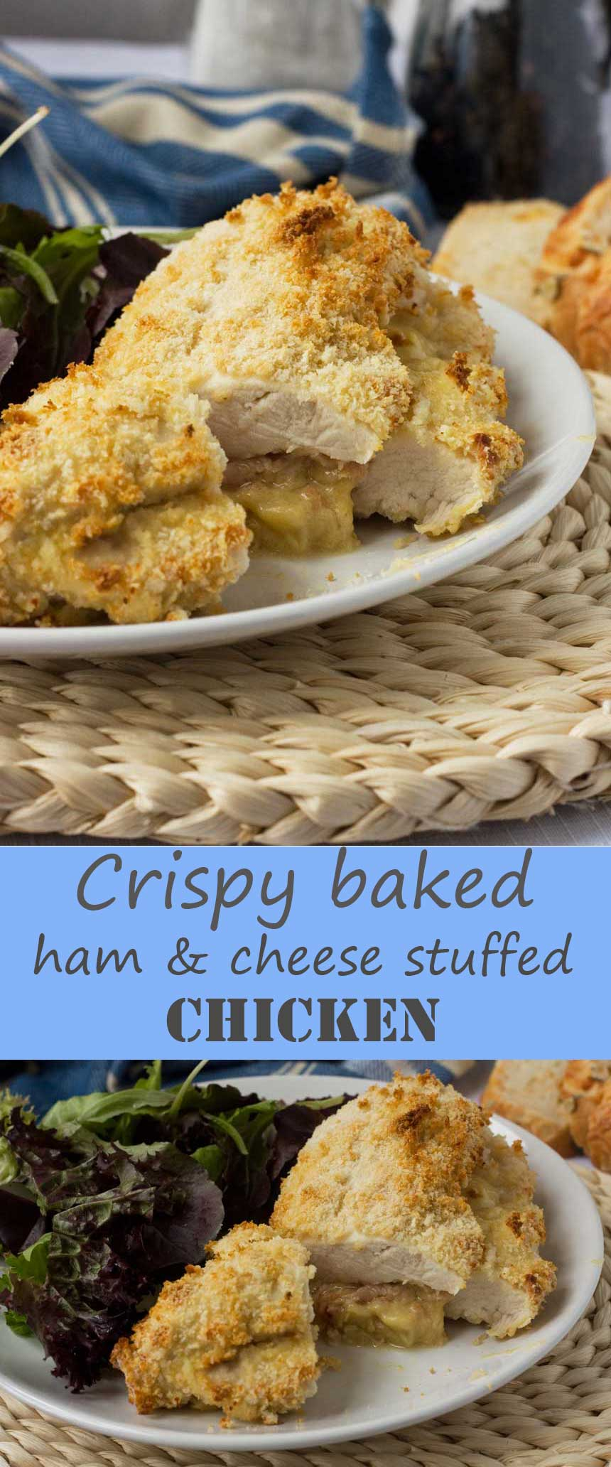 Crispy baked cheese and ham stuffed chicken - so easy and tasty that you'll make it time and time again.