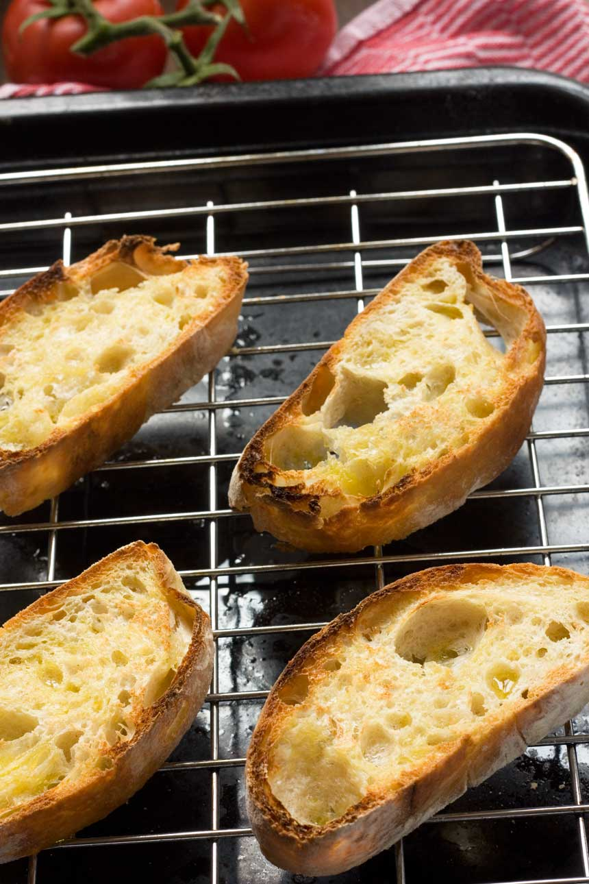 Grilled bread for pan con tomate