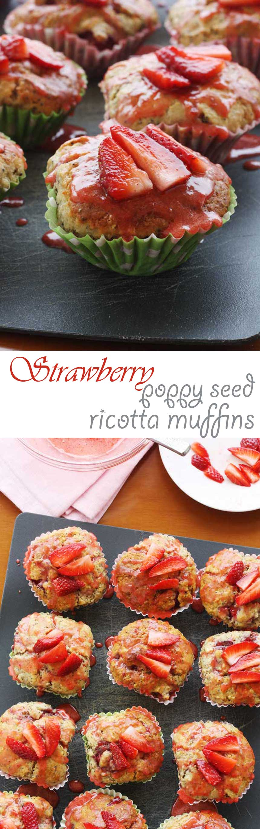 Strawberry poppy seed ricotta muffins - so delicious!
