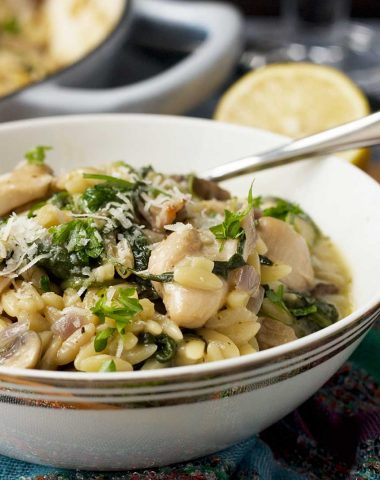 One-pot creamy chicken, bacon and mushroom orzo
