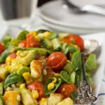 Tomato, corn, avocado and basil salad (with crispy halloumi)