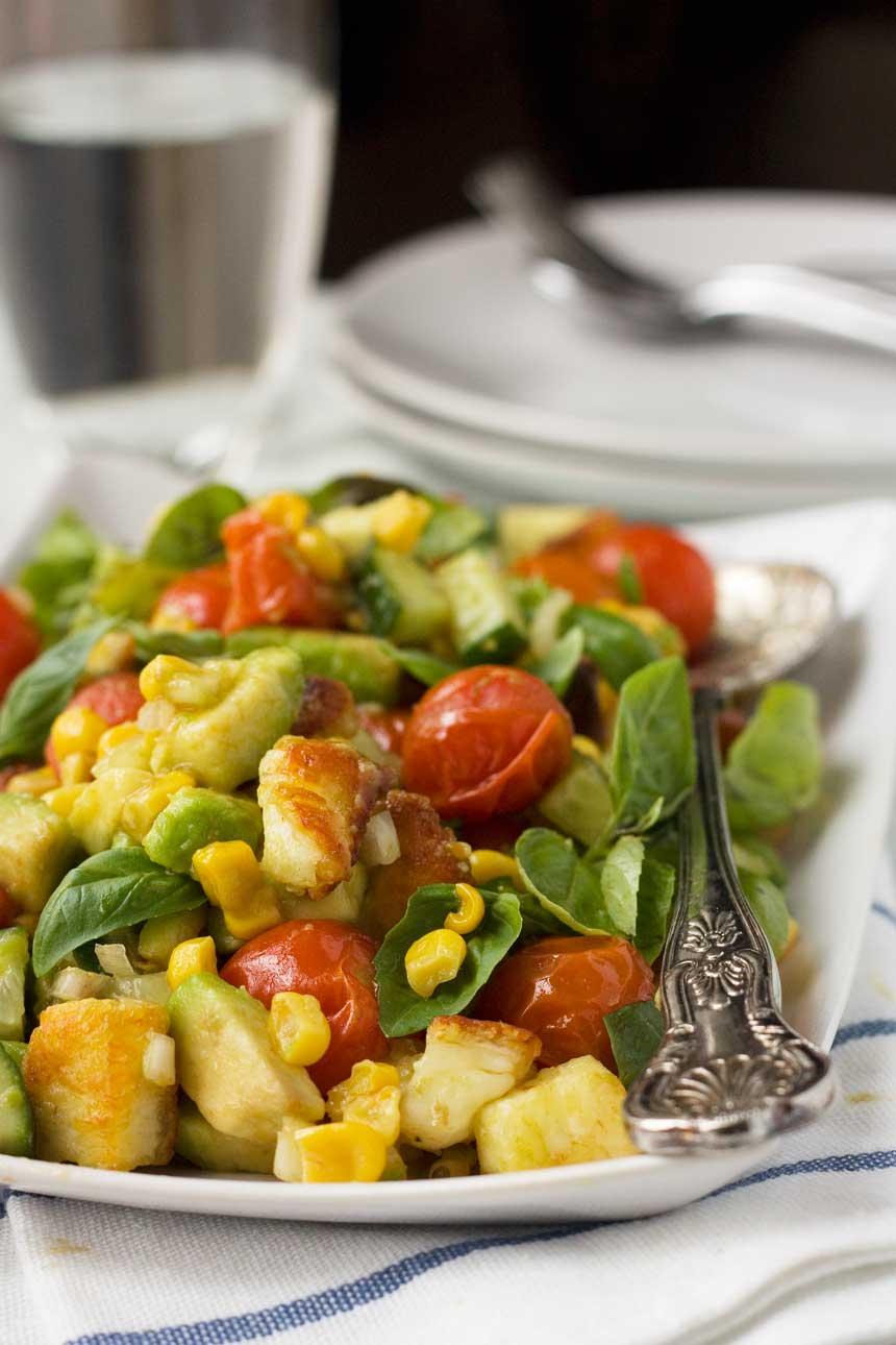 Corn, avocado, tomato and basil salad (with crispy halloumi!)