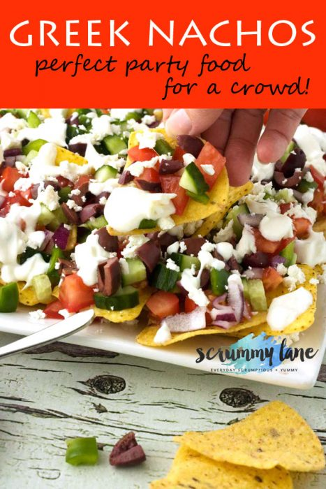 A plate of Greek nachos for Pinterest