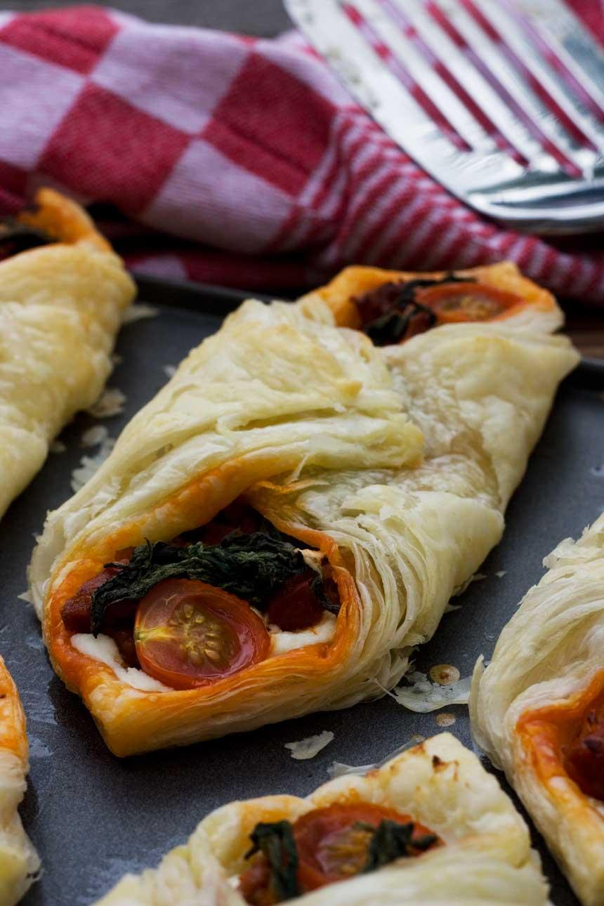 Ricotta, cherry tomato and chorizo puff pastry tarts