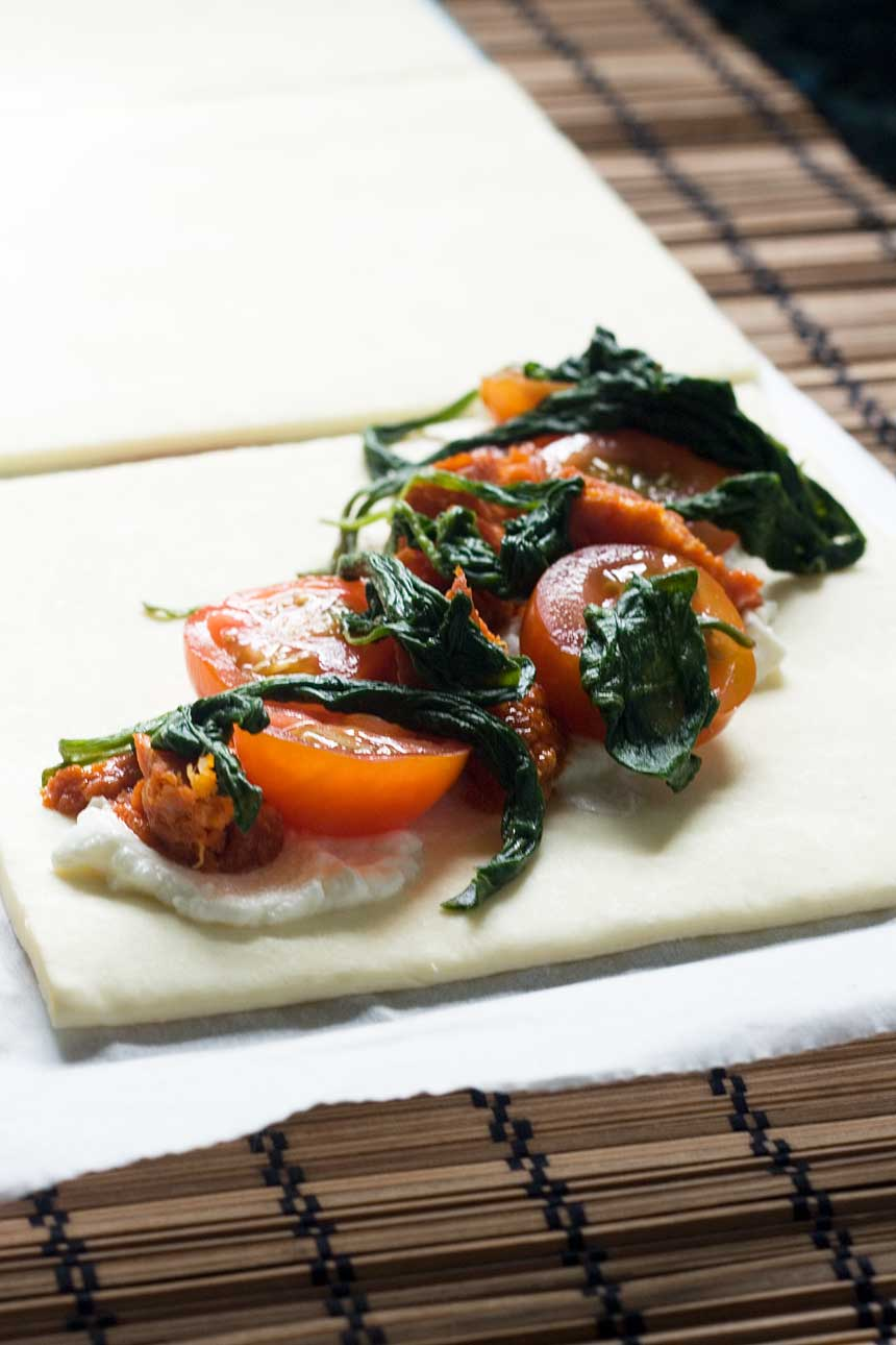Ricotta, cherry tomato and chorizo puff pastry tarts - so easy, and impressive enough to serve to guests!