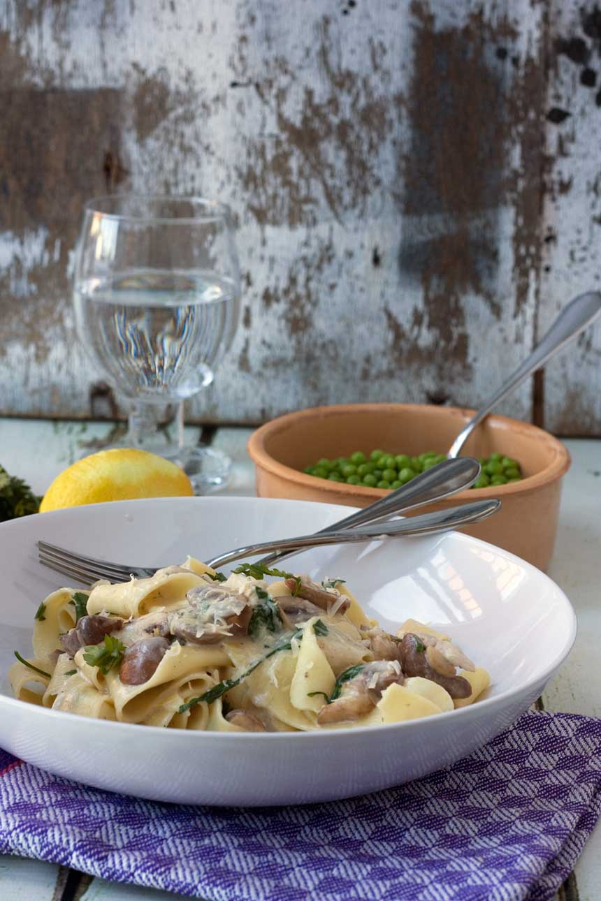Creamy chicken and mushroom pappardelle
