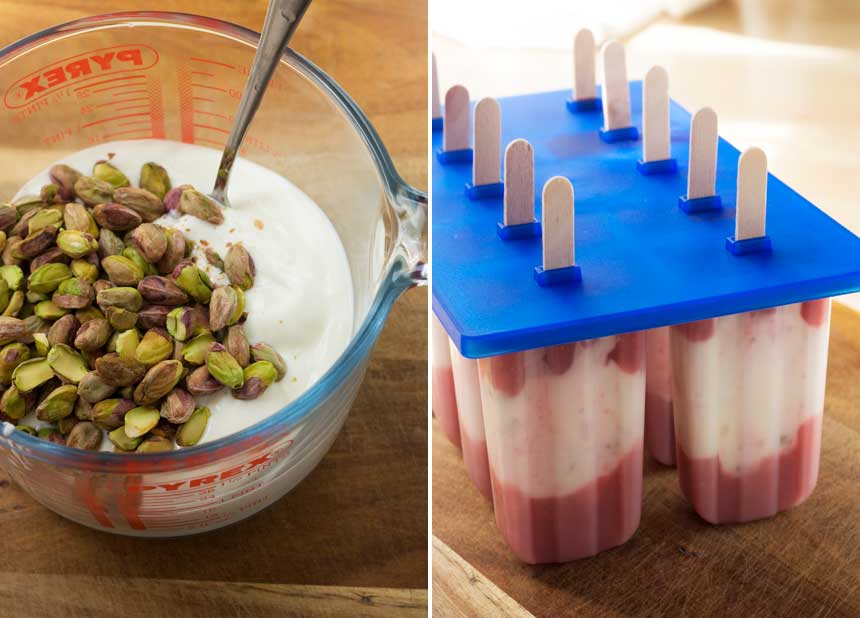 Stir the pistachios into the yogurt, then layer up with strawberries in the moulds.