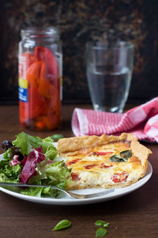 Easy feta and red pepper quiche