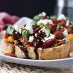 Sweet potato, chorizo and feta bruschetta