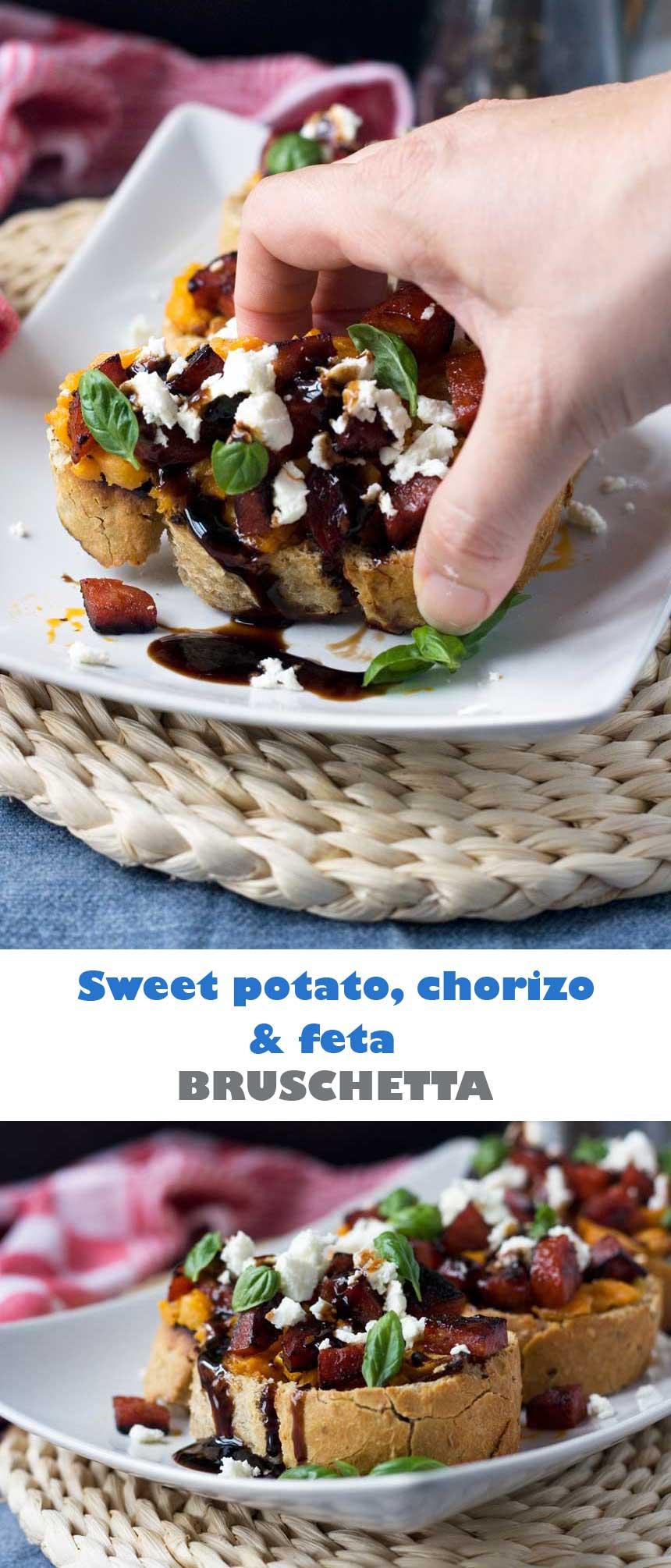 Sweet potato, chorizo and feta bruschetta