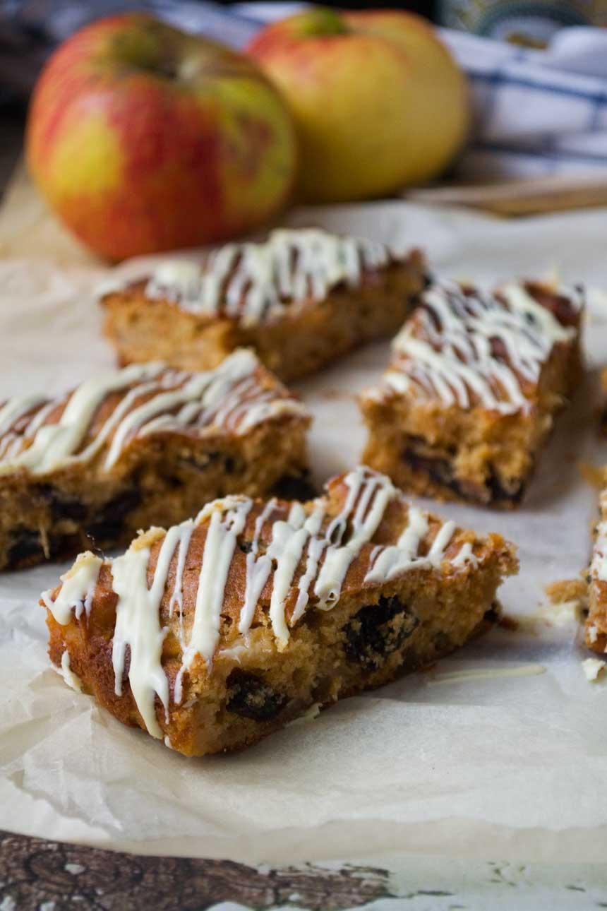 Sticky apple and ginger cake bars - Scrummy Lane