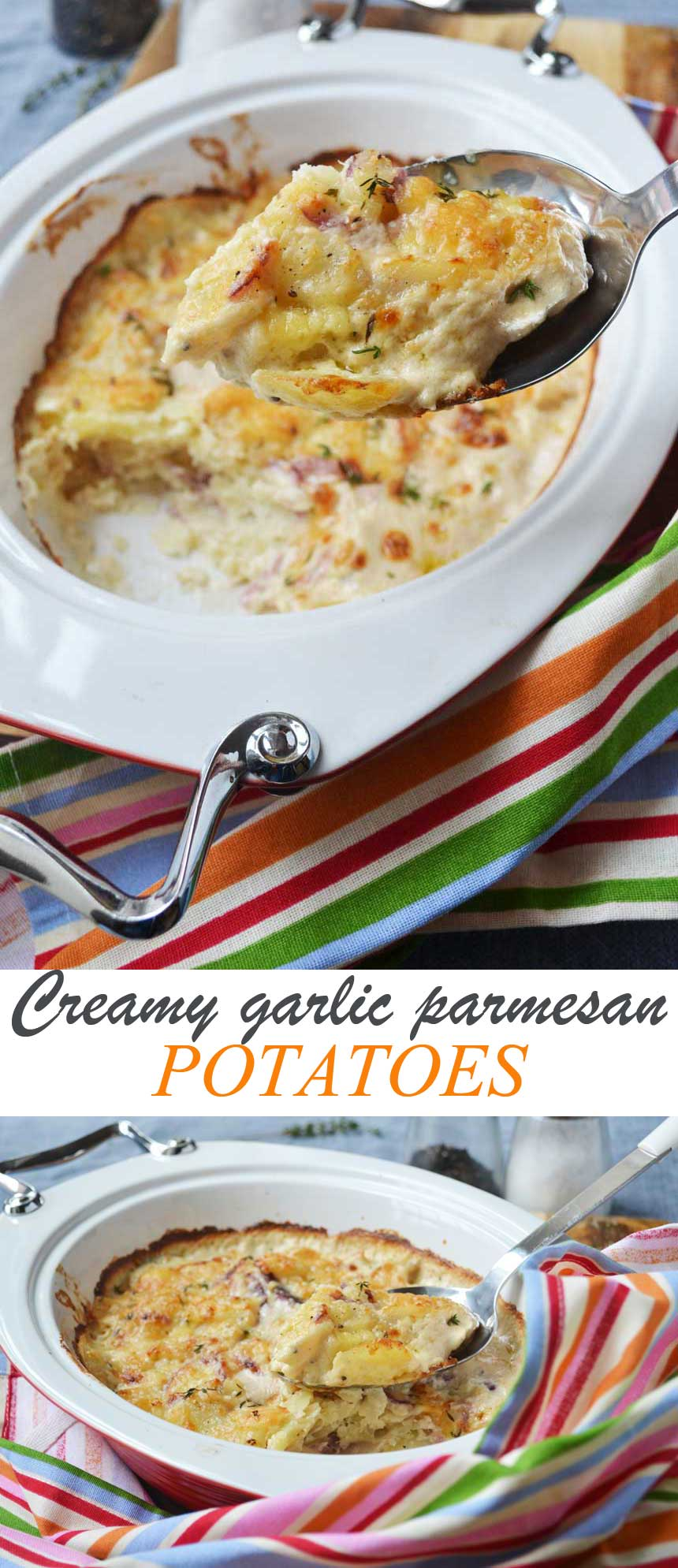 Creamy garlic parmesan potatoes (dauphinoise potatoes)