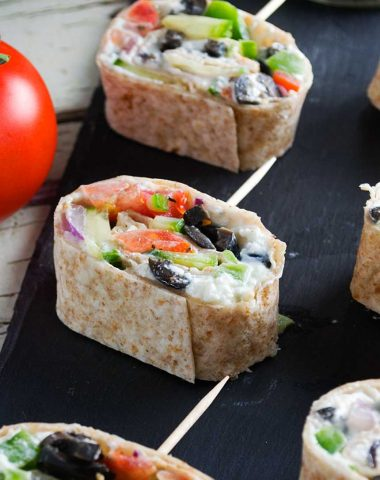 Greek tortilla pinwheels -perfect simple party appetizers
