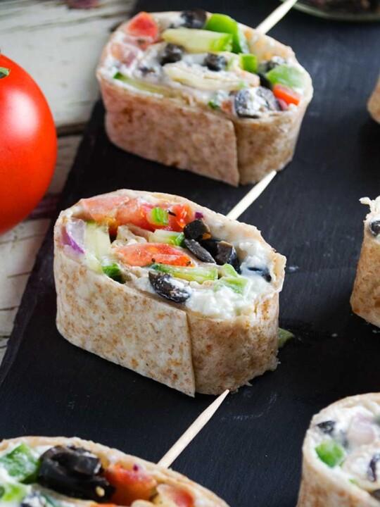 Greek tortilla pinwheels -perfect simple party appetizers