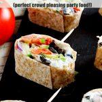A greek tortilla pinwheel for Pinterest