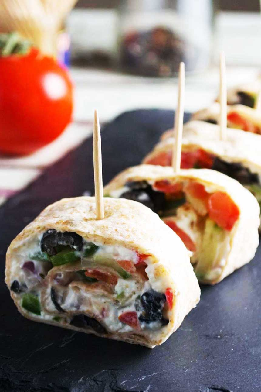 Greek Dinner Party Ideas Part - 46: Greek Tortilla Pinwheels - Perfect Simple Party Appetizers