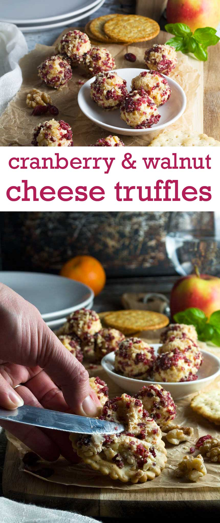 These cranberry and walnut cheese truffles are perfect for entertaining - and so easy to make!
