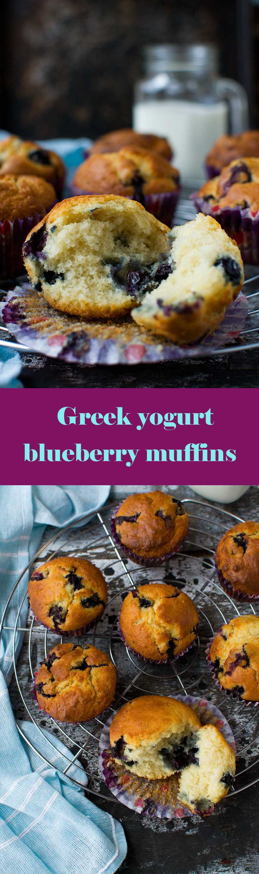 Foolproof Greek yogurt blueberry muffins - a light, airy and delicious recipe that also happens to be fairly low in sugar.  #blueberrymuffins #muffins #cake #easydessert #dessert #scrummylane #blueberries #lowsugar #healthymuffins