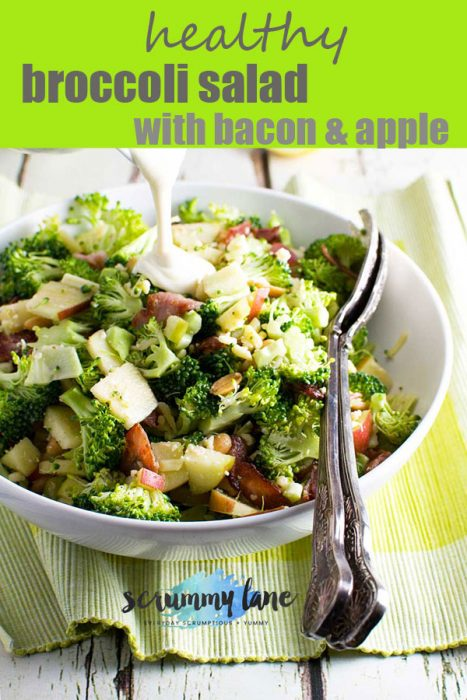 A big dish of healthy broccoli salad with bacon and apple for Pinterest