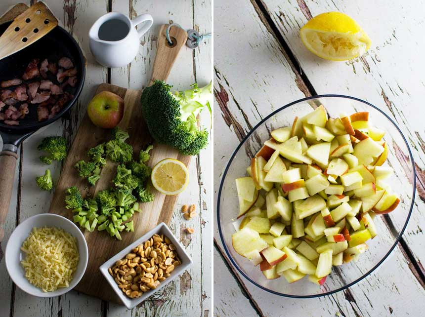 Ingredients for an even healthier broccoli, apple and bacon salad