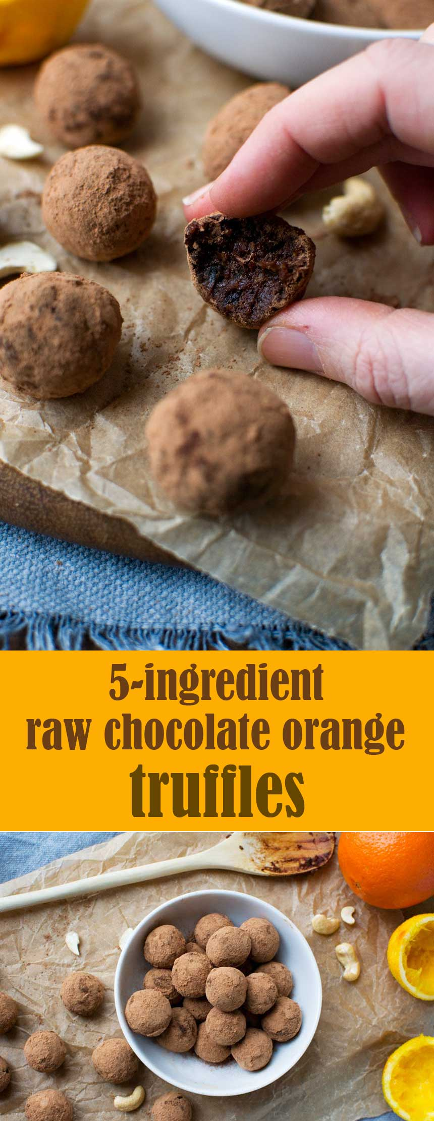 Who doesn't love chocolate truffles? These raw chocolate orangetruffles are made with just 5 super healthy ingredients, but you'll think you're eating a gooey brownie! #truffles #rawfood #raw #glutenfree #chocolate #healthy #chocolateorange #healthysnacks #scrummylane