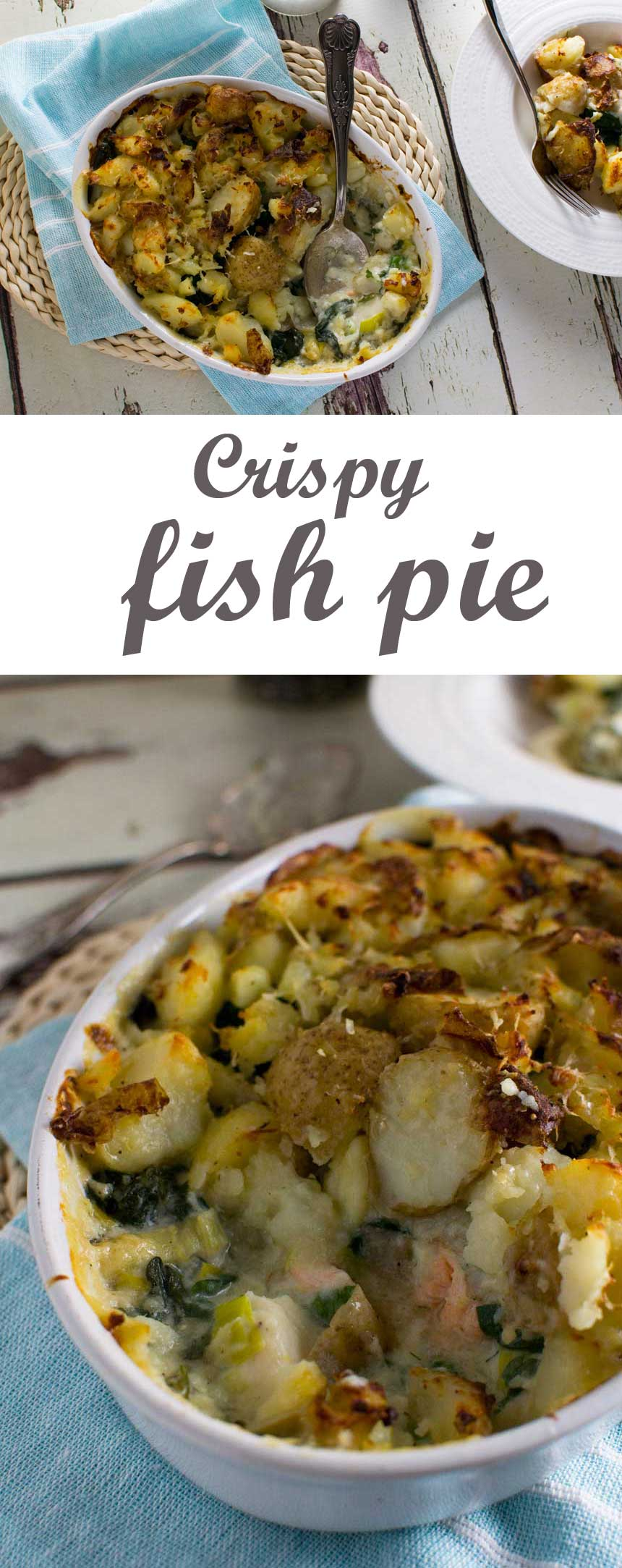 A delicious fish pie with a crispy crushed potato top