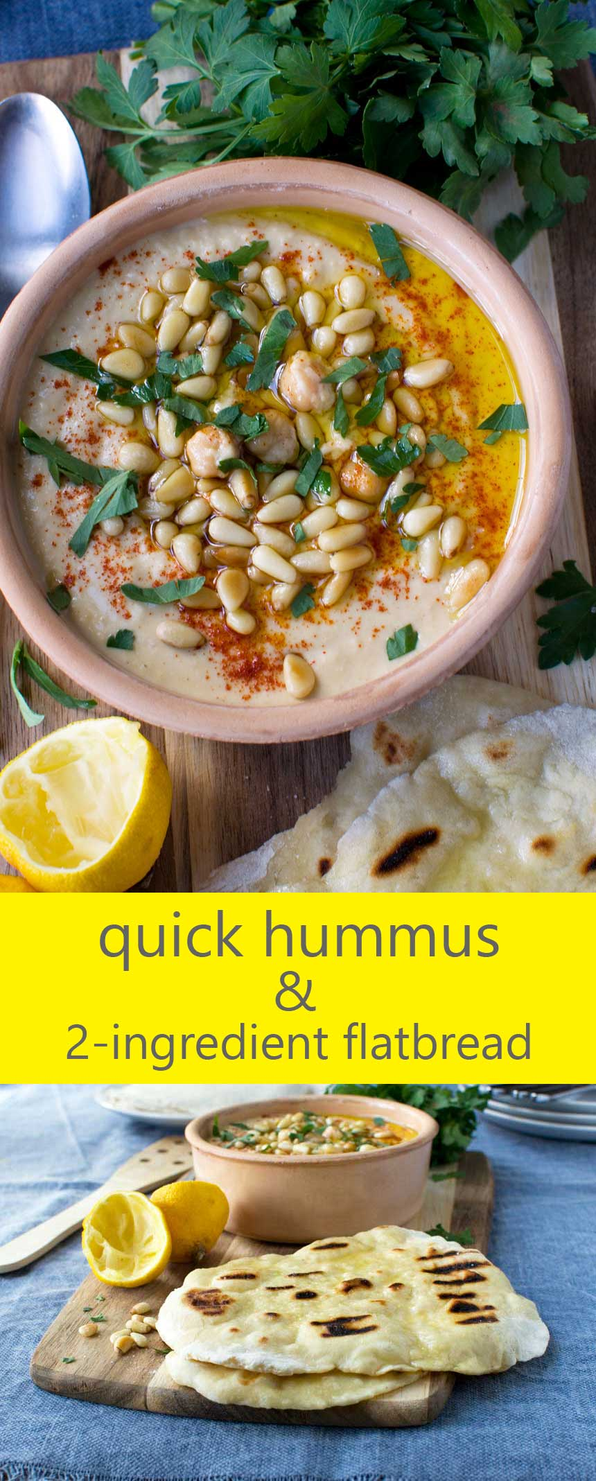 Quick hummus and 2-ingredient flatbread